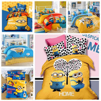 Wholesale Cheap Sale d Minions Printing Bedding Sets For Kids Cotton Queen King Size Bedclothes Duvet Cover Sheet For Kids Children Bed Spreads