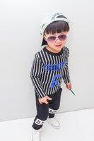 Wholesale 2015 Spring children clothes embroidered logo stripe t shirt pants kids casual set pure cotton boys girls outfits