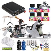 Wholesale Complete Tattoo Guns - Complete Tattoo Kits 2 Guns Machines USA Colors Inks Sets Disposable Needles Power Supply Tips Grips HW-26VD