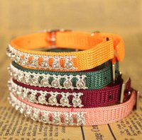 Wholesale 2015 Small boutique knit collar with diamond cat collar with bell pet dog traction