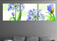 Cheap High-quality Modern Wall art Picture Printed On Canvas Pink flower print painting 3pcs set landscape painting on canvas wj101