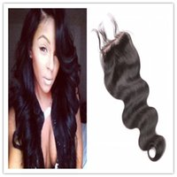 Wholesale 8A Cheap Brazilian Lace Closure Bleached knots Human Hair Closure x4 Body Wave Lace Closure Free Part Lace Closure