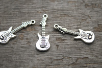 Charms antique guitars - 25pcs Guitar Charms Antique Tibetan Silver Tone Guitars Charm Pendants x11mm