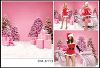 background party gift - 10 ft photography background Pink snow Christmas tree Christmas gifts party backdrops for photography photos