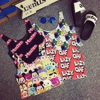 Cheap cute barbie pink letter cartoon crop top Best high waist short yoga fruits vest