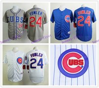 dexter - 2015 Chicago Cubs Jersey Dexter Fowler White Strips Grey Blue Shirt Stitched Authentic Baseball Jersey