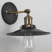 Wholesale Vintage Cage Adjustable Head Wall Sconces Indoor Outdoor Porch Light Glass Ball Wall Lamp Metal Black Color E27 Base V order lt no t