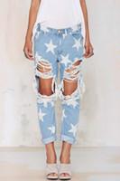 Wholesale Boyfriend Style star pattern loose ripped big hole jeans tassels trousers pants plus size for women woman feminina