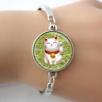 al por mayor japonés suerte-Imagen Gato afortunado brazalete de la pulsera verde de Maneki Neko Talismán Arte japonés colgante de cristal foto cúpula GL007