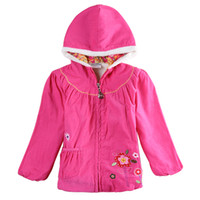 berber clothes - nova winter babies clothes girls berber fleece overcoat corduroy cashmere fur coat baby jacket flower embroidery pink hoodie hooded F5472D