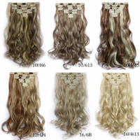 Wholesale Heat Resistant Colors Clip in Hair Extensions Set cm Long Hairpiece Wavy Synthetic Natural Hair Extension Women Styling