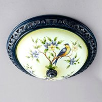 Wholesale Chinese Style Flowers Birds Printed Ceiling Fixtures Mediterranean LED Bedroom Ceiling Light Balcony Hallway Ceiling Lamps