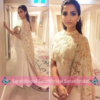 Cheap 2016 Celebrity Sonam Kapoor Paolo Sabastian Dresses Lace Cloak Mermaid Sheer High Neck Arabic Indian Women Formal Evening Red Carpet Gowns