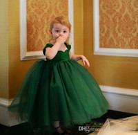 Wholesale Flower Girl Dresses Cap Sleeve Ball Gowns For Girls Puffy Tulle Green Little Girls Short Pageant Dresses
