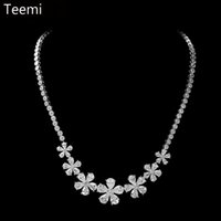 Wholesale LUOTEEMI Earrings Necklace Jewerly Sets Fine Jewelry Clear Cubic Zirconia Rhodium Plated For Bridal Women Dinner Wedding Party