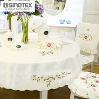 Wholesale 1pcs cm R Embroidery Tablecloth Round Table Cloth Cover Floral Ruffles Gift Home DiningRoom Kitchen Hollow Out