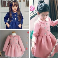 Wholesale Children Girls Dresses Autumn Long Sleeve Rhinestone Ruffle Dress Kids Sequined Clothing Childs Lovely Princess Dressy Pink Blue M2027