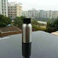 pharmaceutical raw material - 50ml aluminum silver bottle With black plastic cap cosmetic container used for essential oils pharmaceutical raw materials