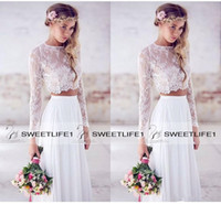 Wholesale 2016 Hot Sale Two Pieces Lace Top Chiffon Skirt Beach Wedding Dresses White Ivory Ruched Long Sleeves Lace Bridal Gowns Custom Made Pretty