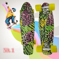 Wholesale 22 quot High Quality Graphic Series Leopard Series Mini Cruiser Long Style Floral Skateboard Complete Single Rocker Long Board