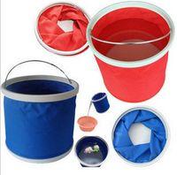 Wholesale New folding bucket Portable Car Washing bucket folding bucket Outdoor Camping Fishing multifunctional bucket LJJD2625