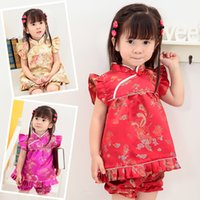 Wholesale Floral Children s Sets baby girls clothes outfits suits New Year Chinese tops dresses short pants Qipao cheongsam