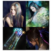 Wholesale Colorful Glowing LED Braid Novelty Party Christmas Decoration Hair Extension LED Wig Clip Pony Tail Fibre Optic Colour Light
