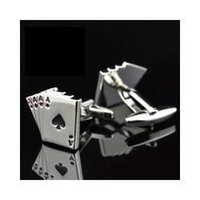 Wholesale FC Jewellery A poker cufflinks male French shirt cuff links Cards Design cufflink Fashion for men s Jewelry Gift