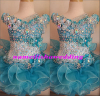 baby pageants - Glitz Cupcake Pageant Dresses for Little Girls Baby Beaded Organza Cute Kids Short Prom Gowns Infant Light Blue Crystal Birthday Party Skirt