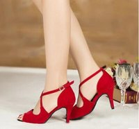 Wholesale Red and blue lady new Latin dance shoes Just companionship cowboy square dancing shoes
