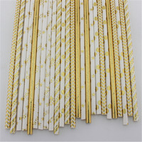 Wholesale Foil Gold Silver Paper Straws Chevron Spots Star Striped Drinking Straws for Wedding Baby Shower Party Decor Supply