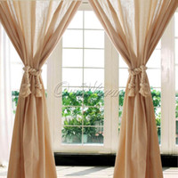 Wholesale Beige Cotton Linen Lace Crochet Curtain Pelmet Valance Hollow Lace Panel for Living Room Hotel Cafe Window Decoration