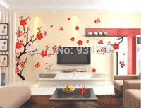 Wholesale 70 CM Red Charming Plum Blossom Flower Removable Wall Sticker Decals Home Decoration