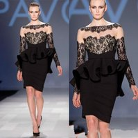 Cheap Pavoni Black Long sleeve Lace Sheer Neck Cocktail Prom Dresses Peplum Sheath Elegant Red Carpet Celebrity Formal Evening Gowns 2015 Arabic