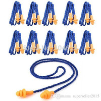 Wholesale 10pair spiral line Safety Silicone Soft Ear Plugs Hearing Protection Noise Reduction T1476 W0 SYSR