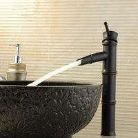 bamboo spout - Single Hole black Antique Brass Basin Faucet Bamboo Shape Design Tall Spout Bathroom Mixer hot and cold Taps MD