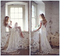 Wholesale Anna Campbell Backless Plus Sizes Lace Garden Wedding Dresses Pregnant V Neck Cap Sleeves Sweep Train Spring Beach Maternity Gowns