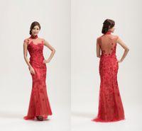 custom made cheongsam - Oliva Couture Chinese Traditional Formal Dresses High Neck Sheer Back Zipper Side Red Applique Cap Sleeves Cheongsam Custom FY1132