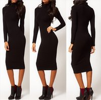 Wholesale Womens Autumn High Neck and Long Sleeve Dress Knitting Knee Length Dress Package Buttocks Dress