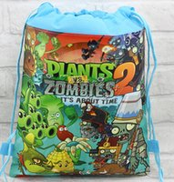Wholesale new stocking Plants vs zombies Drawstring Backpack Bag Children Kids Bag X27CM schoobag party gift