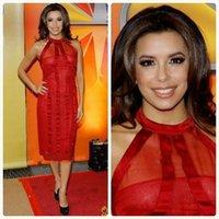 alto trumpet - Nueva llegada por encargo vestido de noche Kim Kardashian columna cuello alto sin mangas de la celebridad vestidos