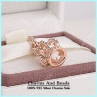 fairy charms - Rose Gold Plated Crown Pendant Charm Fits Pandora Bracelets Authentic Sterling Silver Fairy Tale Charms For Women Bracelets Jewelry DIY