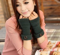 ladies gloves - Spring Autumn Winter Women Wool Arm Gloves button Knitted Mitten Lengthen Half finger Gloves ladies gloves semi fingerST6010