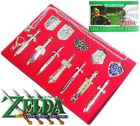 Cheap 12 pcs set The Legend of Zelda Weapon Sets Link Swords 6-8 cm Metal key Ring Necklace pendant Xmas Gift J010903# DHL freeship