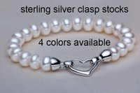 Wholesale Genuine AAA mm Freshwater Cultured Button Pearl Bracelet Sterling Silver Heart Clasp Pearl Jewelry Bangles For Women cm Colors