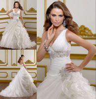 Cheap US stock vintage Chapel White Plus Size V-Neck Lace Up Bridal Ball Gown Wedding Dress Draped Sweep Train bridal ball gown wedding clothes