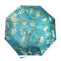 almond tree - New Umbrella The Almond Trees With Flower Painting Silver Tape UV Umbrella Folded Umbrella For Women