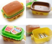 Wholesale 2016 New double holes Double Layer simulation Hamburger Pencil Sharpener cutters cute cutter sweet yellow cute cartoon desgin