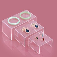 Wholesale clear Jewelry Display Stand Toy Mobile Wallet Bracelets Display Shelf Plexiglass Three piece Necklace Earring Rack