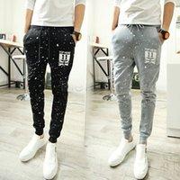 Al por mayor-Hombres Pantalones Harem del basculador al aire libre ocasionales de los pantalones deportivos pantalones de deporte de los hombres Negro Gris Hip Hop pantalón tamaño extra grande de 24